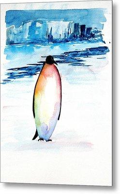 Penguin 2 Metal Print by Carolyn Doe