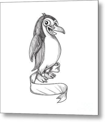 Penguin Ribbon Side Tattoo Metal Print by Aloysius Patrimonio