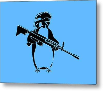 Penguin Soldier Metal Print by Pixel Chimp