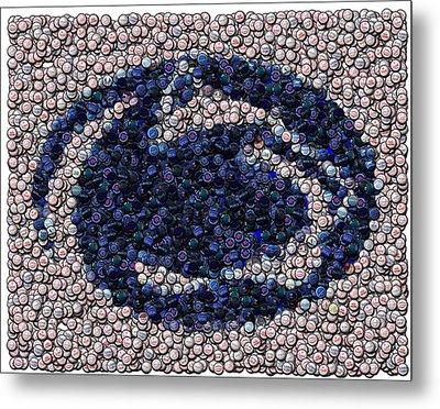 Penn State Bottle Cap Mosaic Metal Print