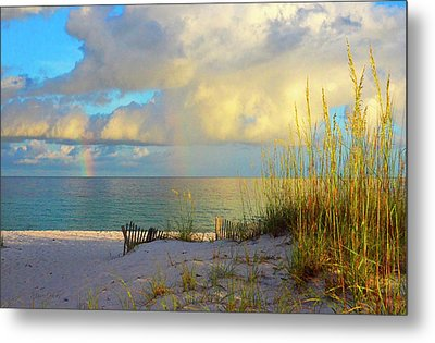 Pensacola Rainbow At Sunset Metal Print by Marie Hicks