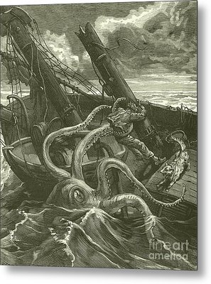 Perilous Adventures At Sea Metal Print by French School