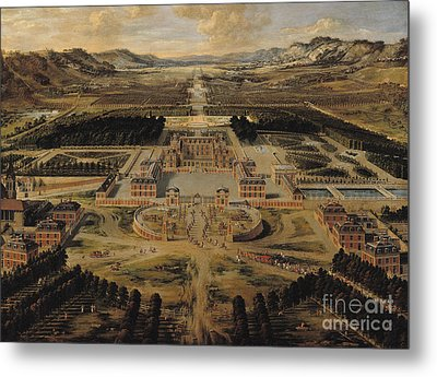 Perspective View Of The Chateau Gardens And Park Of Versailles Metal Print