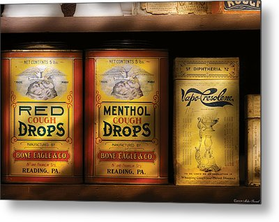Pharmacy - Cough Drops Metal Print by Mike Savad