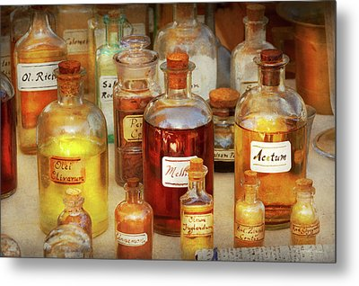 Pharmacy - Serums And Elixirs Metal Print by Mike Savad