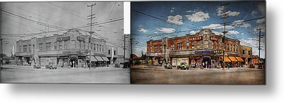 Metal Print featuring the photograph Pharmacy - The Corner Drugstore 1910 - Side By Side by Mike Savad