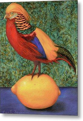 Pheasant On A Lemon Metal Print