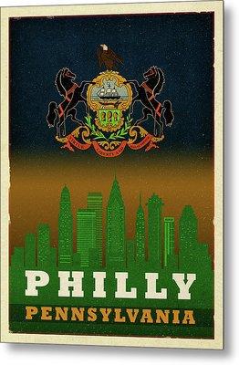 Philadelphia City Skyline State Flag Of Pennsylvania Art Poster Series 014 Metal Print