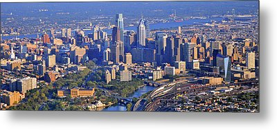 Metal Print featuring the photograph Philadelphia Museum Of Art And City Skyline Aerial Panorama by Duncan Pearson