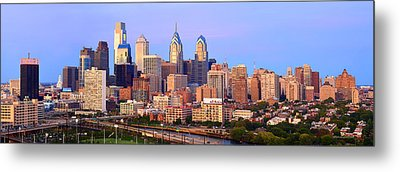 Philadelphia Skyline At Dusk Sunset Pano Metal Print by Jon Holiday