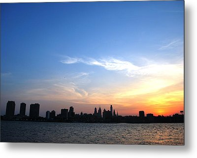 Philadelphia Skyline Low Horizon Sunset Metal Print