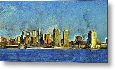 Metal Print featuring the mixed media Philly Skyline by Trish Tritz