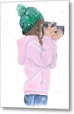 Photographing Snow Flakes Metal Print by Katrina Ryan