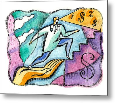 Metal Print featuring the painting Physician And Money by Leon Zernitsky