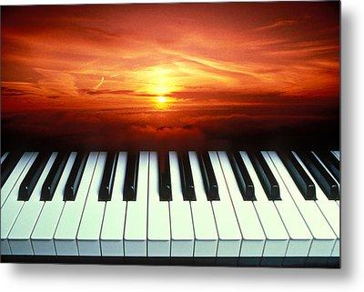Piano Keys Sunset Metal Print by Garry Gay