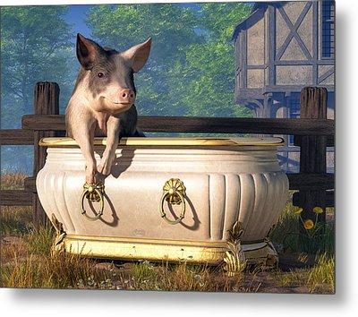 Pig In A Bathtub Metal Print by Daniel Eskridge