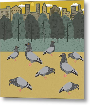 Pigeons Day Out Metal Print