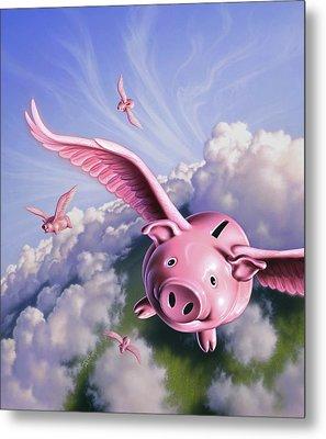 Pigs Away Metal Print by Jerry LoFaro