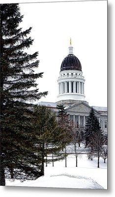 Pine Tree State Capitol In Winter Metal Print