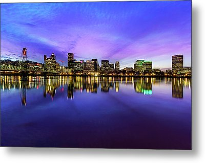 Pink And Blue Hue Evening Sky Over Portland Oregon Metal Print by David Gn