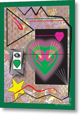 Metal Print featuring the digital art Pink And Green Heart Design by Christine Perry