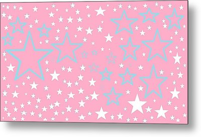 Pink And Turquoise Stars 1 Metal Print by Linda Velasquez