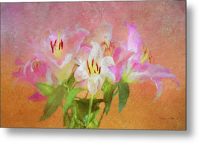 Metal Print featuring the photograph Pink And White Lilies by Bellesouth Studio