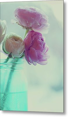 Pink And White Ranunculus Flowers In Vase Metal Print by Isabelle Lafrance Photography