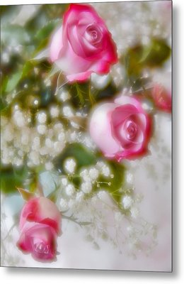 Metal Print featuring the photograph Pink And White Rose Bouquet by Diane Alexander