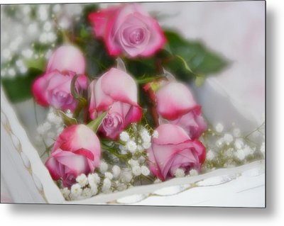 Metal Print featuring the photograph Pink And White Roses In White Box 2 by Diane Alexander
