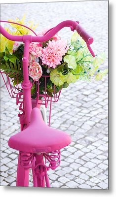 Pink Bike Metal Print by Carlos Caetano