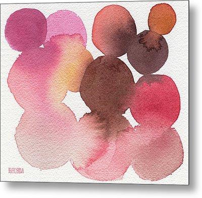 Pink Brown Coral Abstract Watercolor Metal Print
