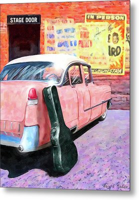 Pink Cadillac At The Stage Door Metal Print