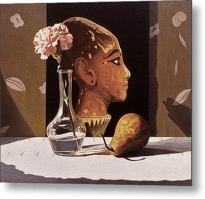 Pink Carnation And Egyptian Head Metal Print by Daniel Montoya