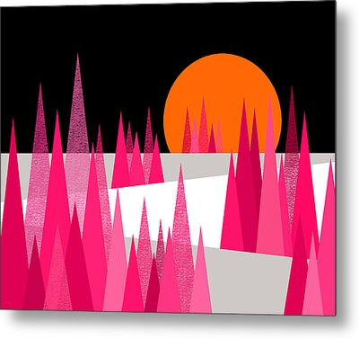 Pink Forest Metal Print by Val Arie