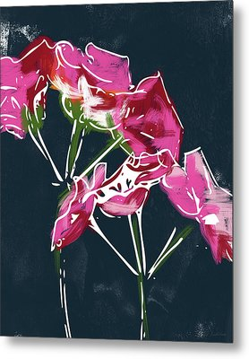 Pink Geraniums- Art By Linda Woods Metal Print by Linda Woods