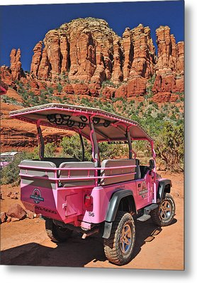 Pink Jeep At Sedona Metal Print by Jack Moskovita