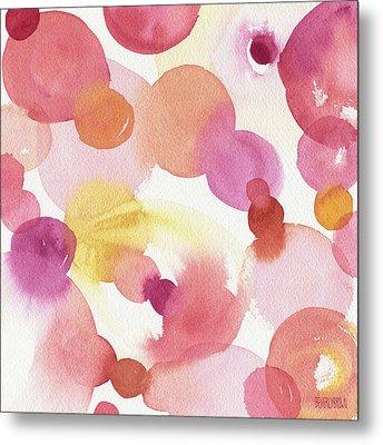Pink Orange Yellow Abstract Watercolor Metal Print