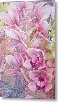 Pink Orchids Metal Print by Ann Bridges
