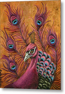 Pink Peacock Metal Print by Leah Saulnier The Painting Maniac