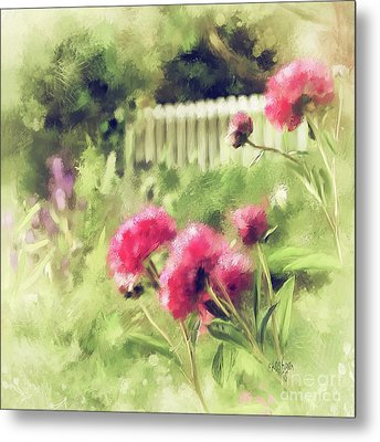 Metal Print featuring the digital art Pink Peonies In A Vintage Garden by Lois Bryan