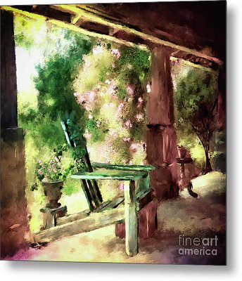 Metal Print featuring the digital art Pink Roses On The Porch by Lois Bryan