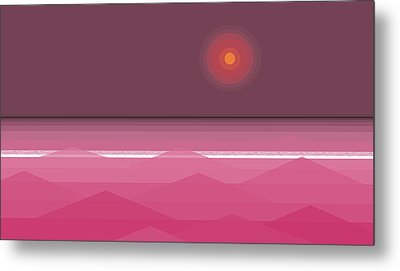 Pink Sunset - Abstract Seascape Metal Print by Val Arie