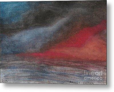 Pink Sunset Over Ocean Metal Print by Amanda Currier