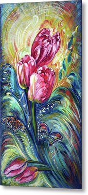 Pink Tulips And Butterflies Metal Print by Harsh Malik