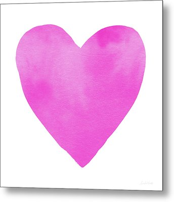 Pink Watercolor Heart- Art By Linda Woods Metal Print by Linda Woods