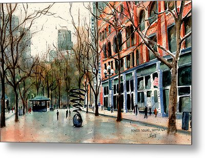 Metal Print featuring the painting Pioneer Square by Marti Green