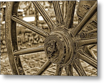 Metal Print featuring the photograph Pioneer Wagon Wheel by Marie Leslie