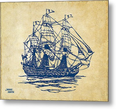 Pirate Ship Artwork - Vintage Metal Print