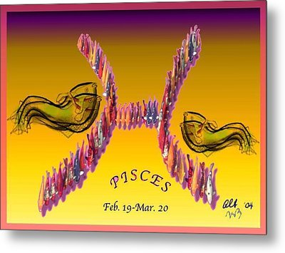 Metal Print featuring the painting Pisces by The Art of Alice Terrill